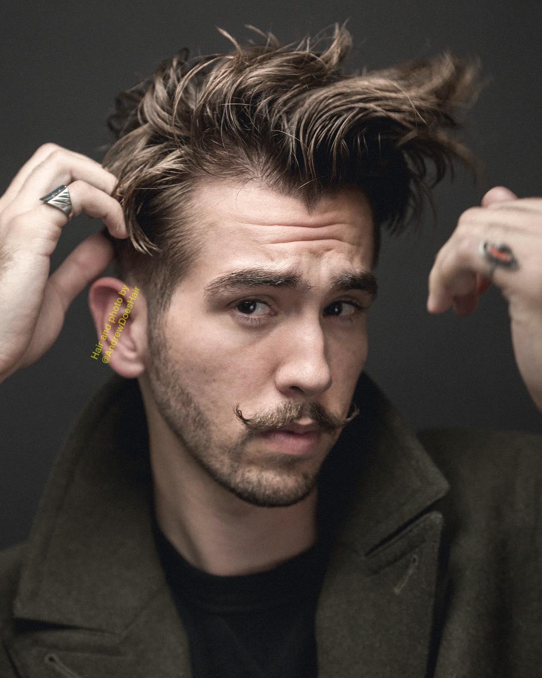 andrewdoeshair mustache messy medium length haircuts 2018