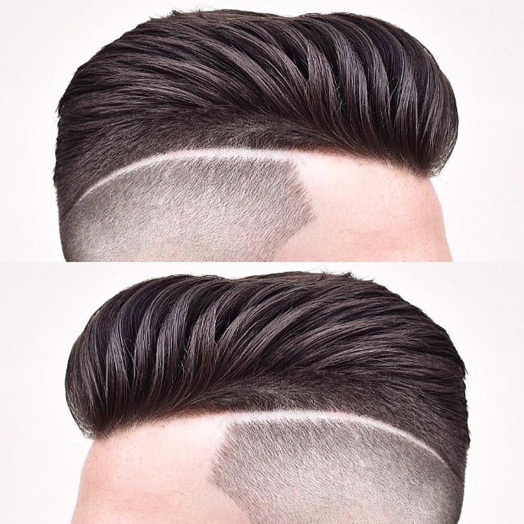 barber.josh.o.p short pomp with razor line Popular The Pompadour Haircut