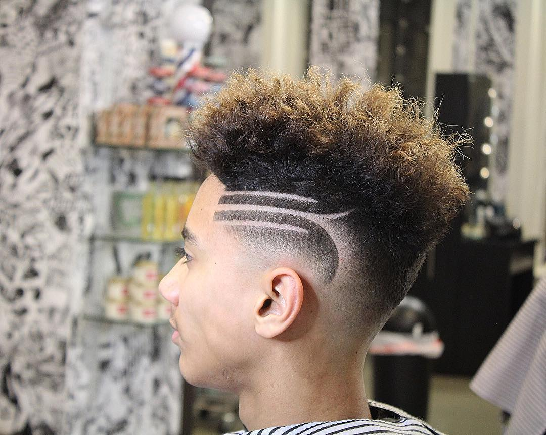 barberlele23 messy top shaved line design long hairstyles for men 2018