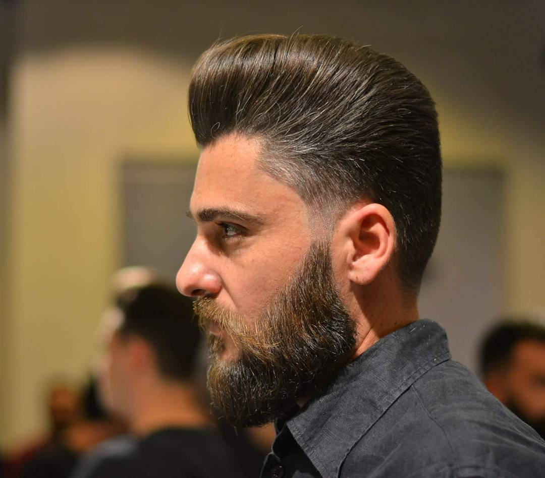 dons_cuts pompadour haircuts with beard side part haircuts 2018