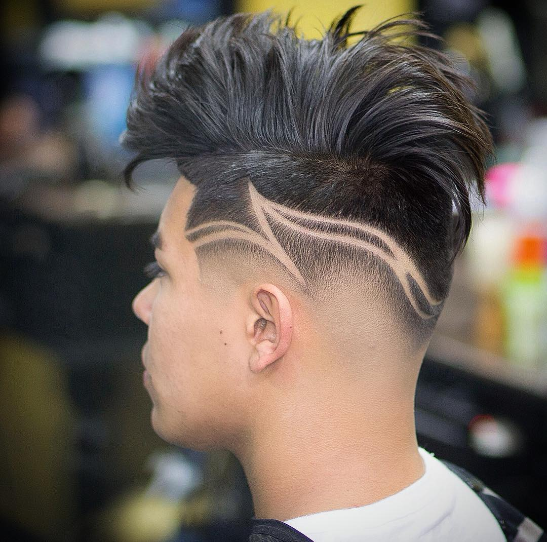 3. Medium Length + Razor Line Design. Best Fade Haircuts