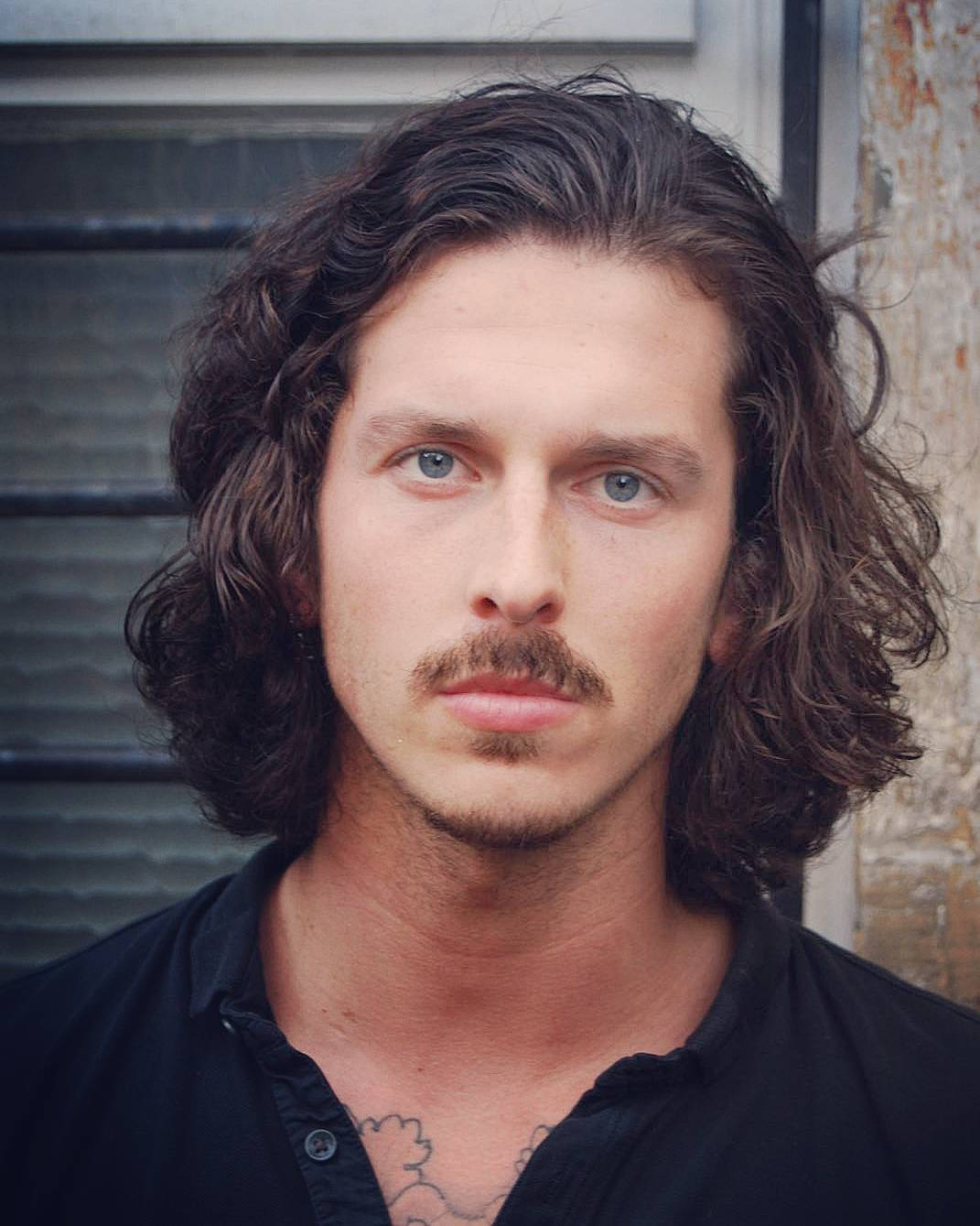 kilianmaddison lon wavy with mustache long hairstyles for men 2018
