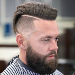 mens hairstyle swag short pomp long hair shaved lineThe Pompadour Haircut