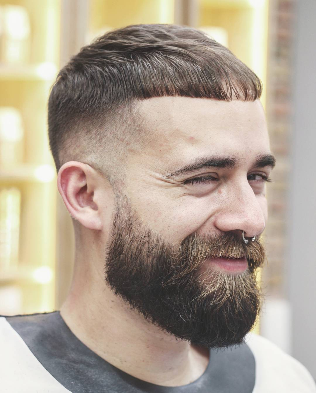 nomadbarberbln huge beard with mustache fringe line up fade cool haircuts for mens with thick hair