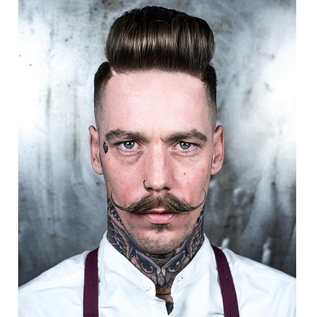 r.braid high puff pompadur with mustache mens haircuts