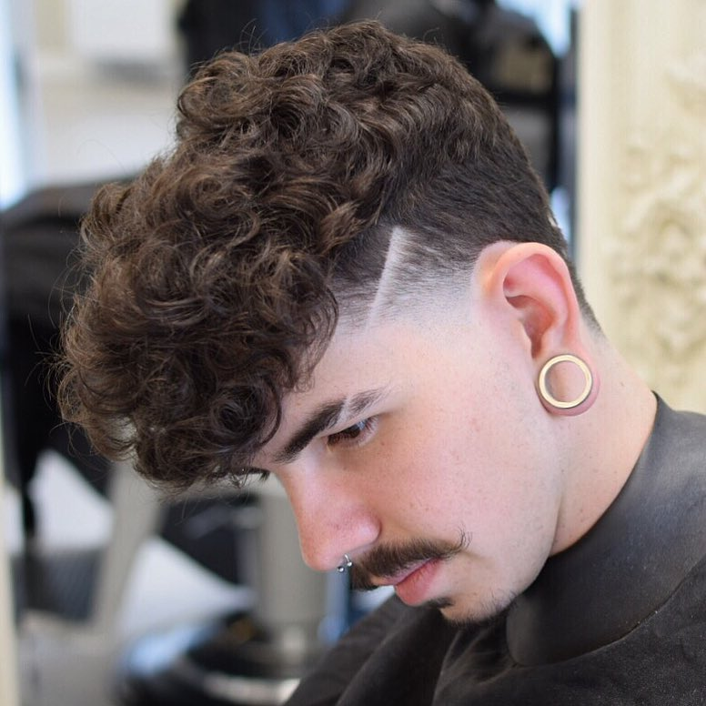 raggos_barbering curly top razor line high fade side part latest mens hairstyles 2018