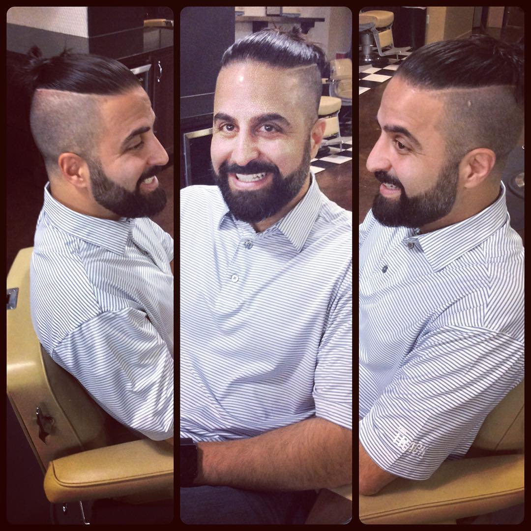 reddsbarbershop shaved line man bun long hairstyles for men 2018