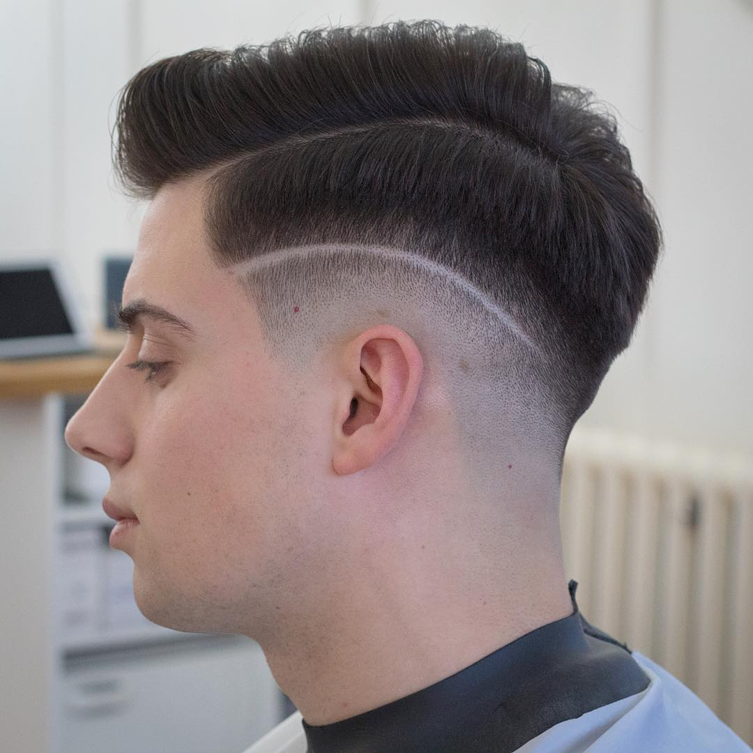 rumbarber short textured with shaved line and high fade cool haircuts for mens with thick hair