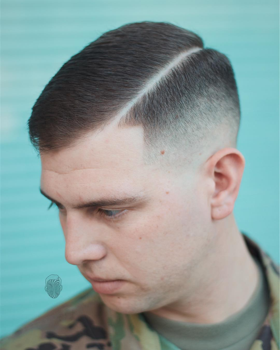 travisanthonyhair taper fade with long shaved line cool haircuts for mens with thick hair
