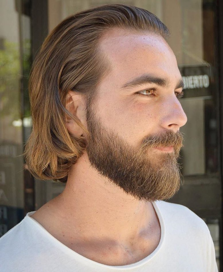 virogas.barber straight sweep back with beard style long hairstyles for men 2018
