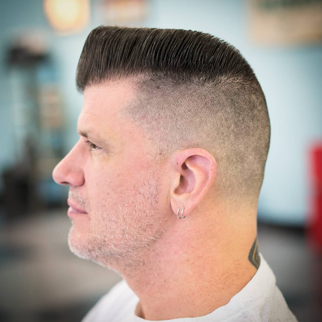 michaelmartinthebarber Mens Hairstyles For Thin Hair with pomp side part fade