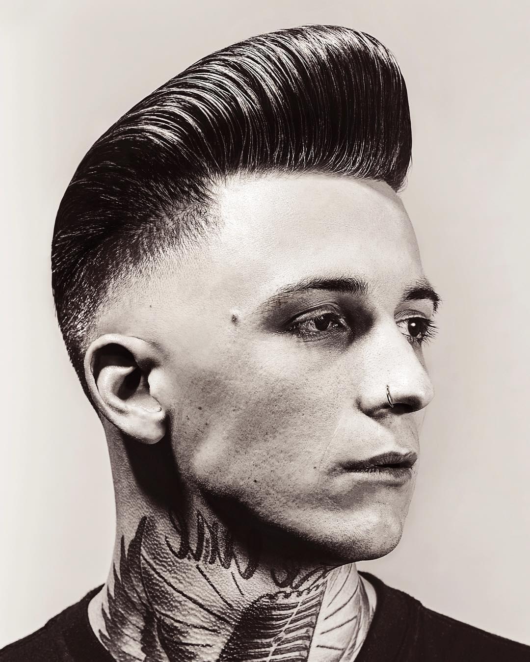 holytigerbarbershopgraz classic pompadour haircut