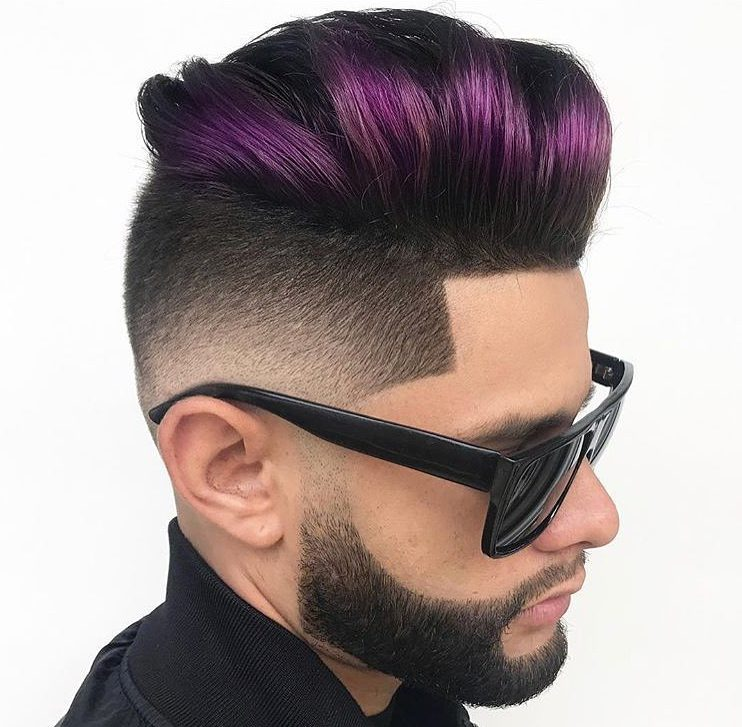 tommy_geography color pompadour haircut