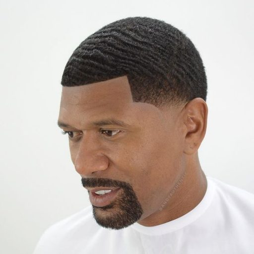 black men fades buzz cut with line up and waves