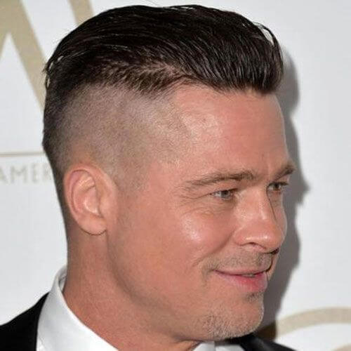 brad pitt short quiff taper fade undercut celebrity hairstyles for men