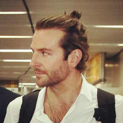 bradley cooper haircut long hair with man bun