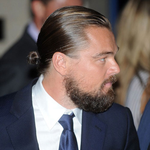 leonardo dicaprio man bun celebrity hairstyles for men
