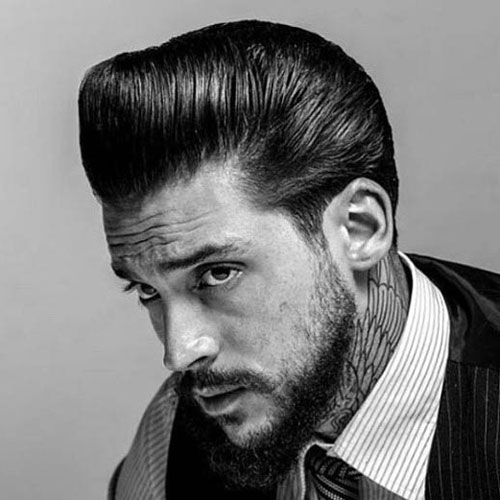 short pomp slick back rockabilly hairstyles for men