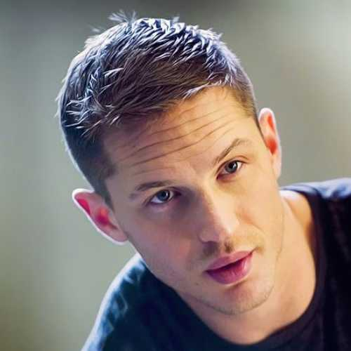 tom hardy haircut side part low skin fade short spikes