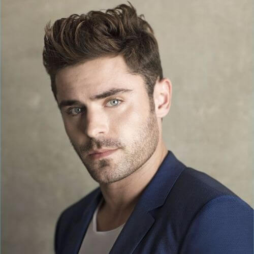 zac efron haircut short length messy quiff celebrity hairstyles for men