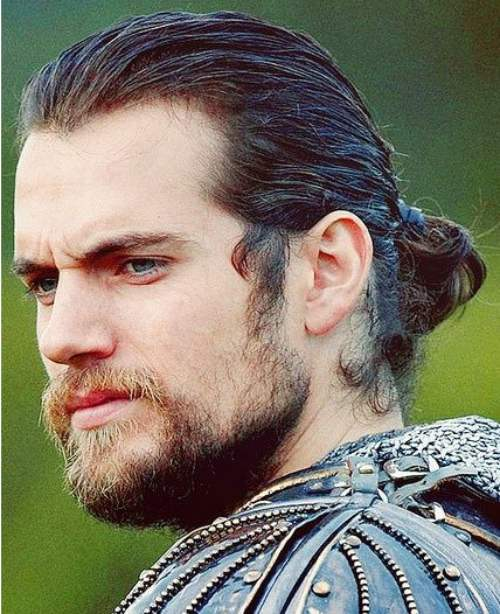henry cavill long hair and beard man bun