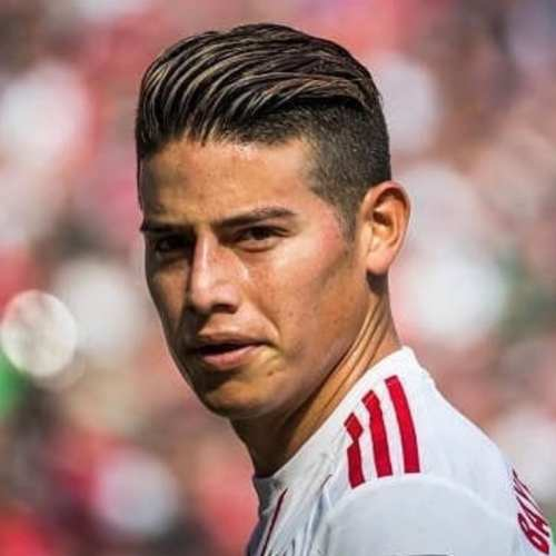james rodriguez high textured slicked back haircut