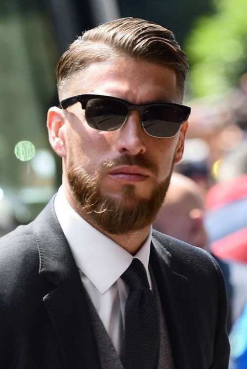 sergio ramos latest comb over hairstyle taper fade