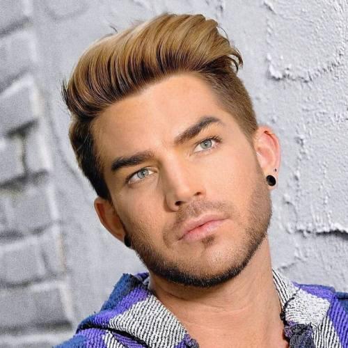 2 adam lambert highlighted comb fade haircut