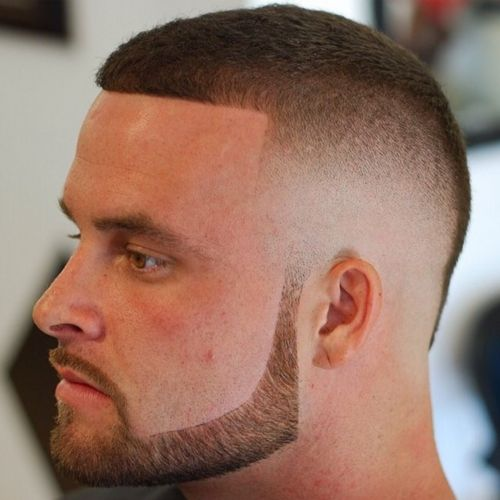 2 military haircut with beard and skin fade haircut