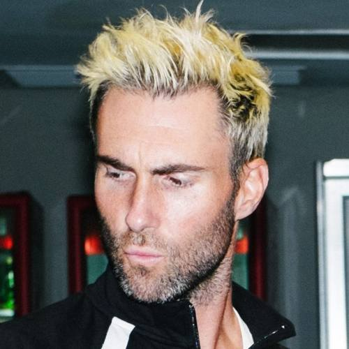 3 adam levine haircut blonde high textured spiky hairstyle