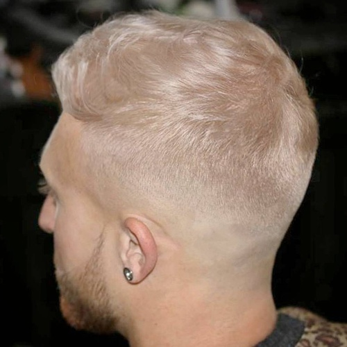 back low fade hairstyle colored hair