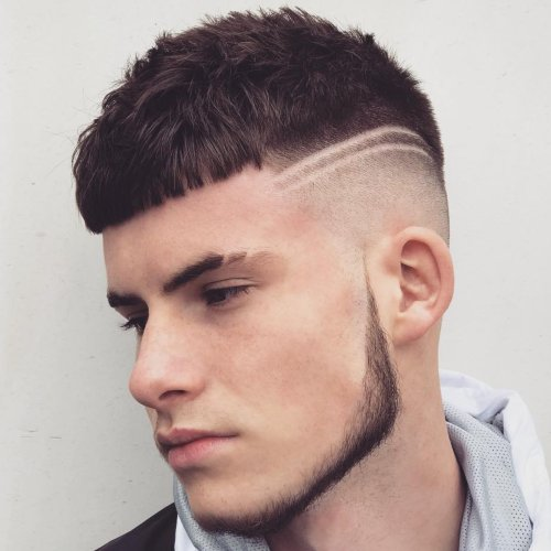 double cut line up haircut with beard