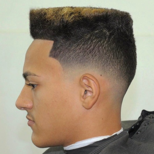 high top flat skin fade side line up haircut