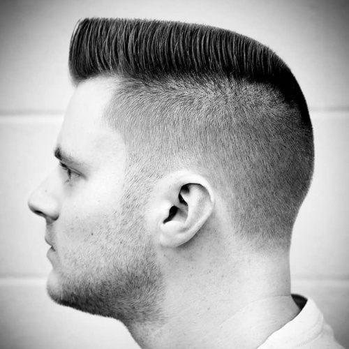 high top flat with military haircut low fade side part haircut