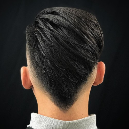 hightextured hair v shaped back mohawk fade haircut