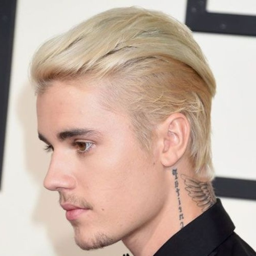 justin bieber blonde slicked back undercut haircut