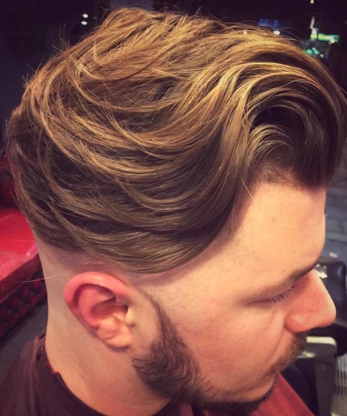 long wavy hair mens hairstyles side bald fade