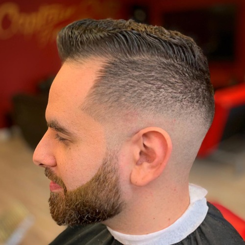 low fade haircut with beard line up