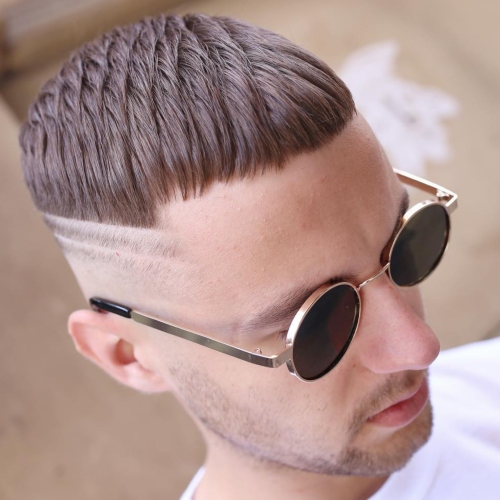 mens wavy fringe haircut male side part fade
