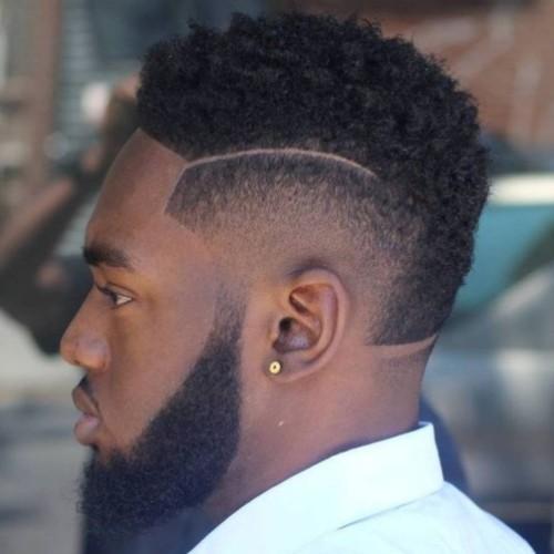 mohawk fade black man hair design curly fade