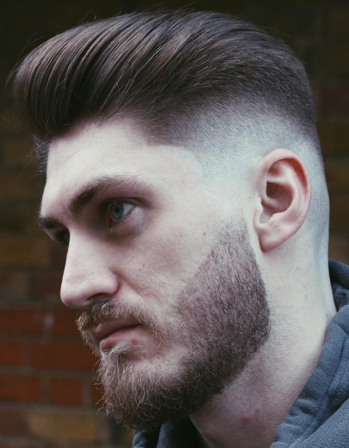 shadow low fade haircut comb over pompadour