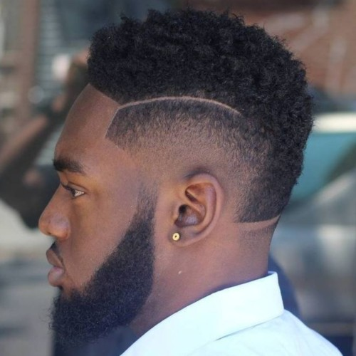 short curly hair razor line up burst fade mohawk hairstyle