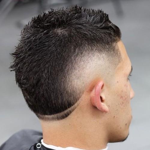 short haircut side part burst fade haircut