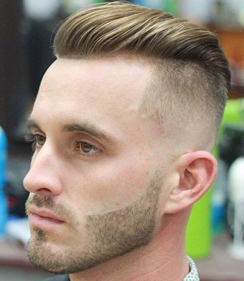 short pompadour com over slicked back undercut fade haircut