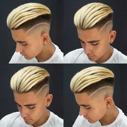 slicked back undercut top blonde hairstyle with side part fade