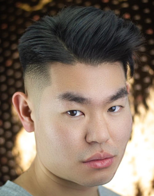 textured layers side part low fade haircut asian