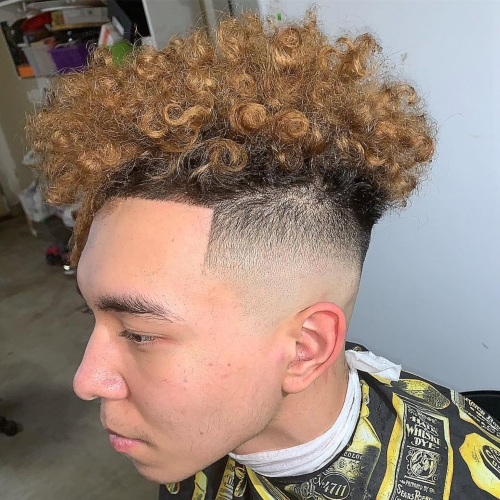 top curly hair high fade haircut line up