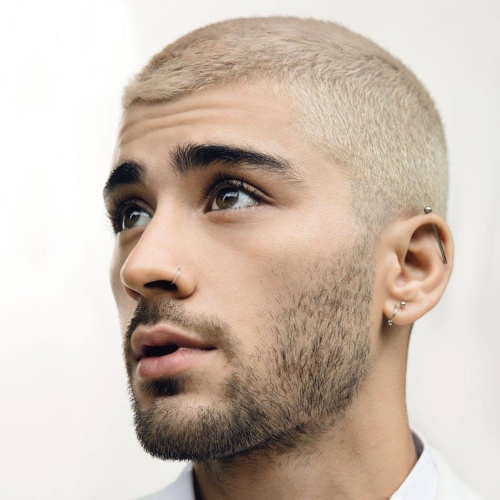 white zayn malik hairstyle side part low fade haircut