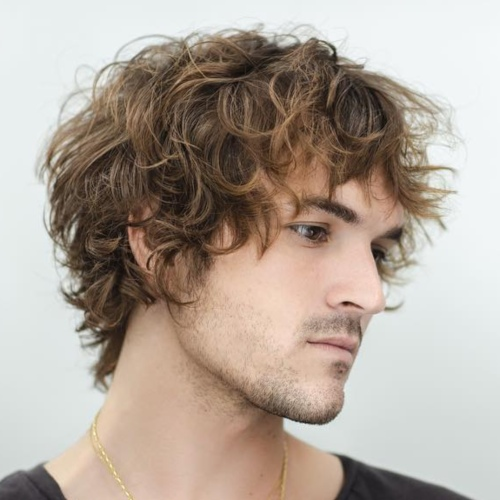 mens hairstyle messy look long curly hair messy hairstyle mens